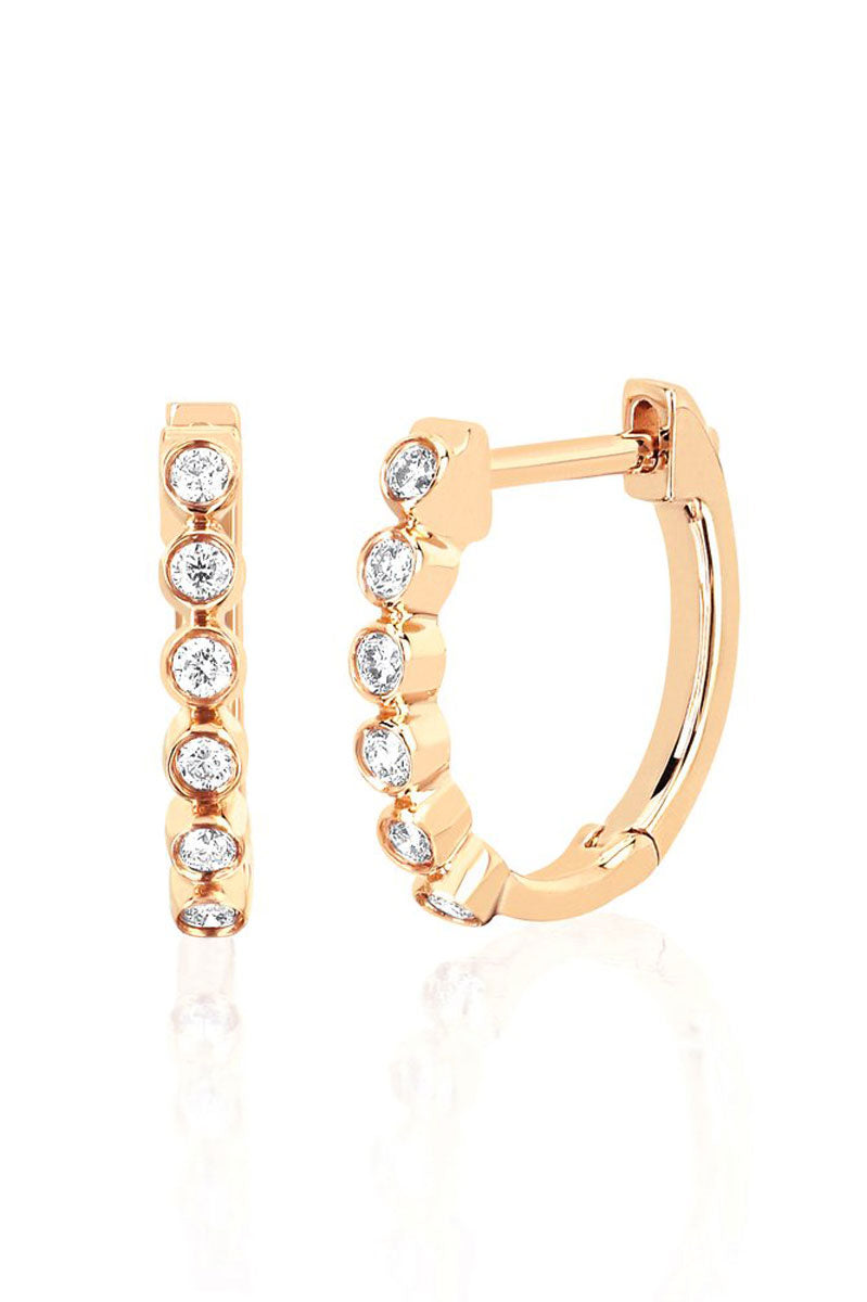 Diamond Bezel Huggie - Yellow Gold - Pavilion