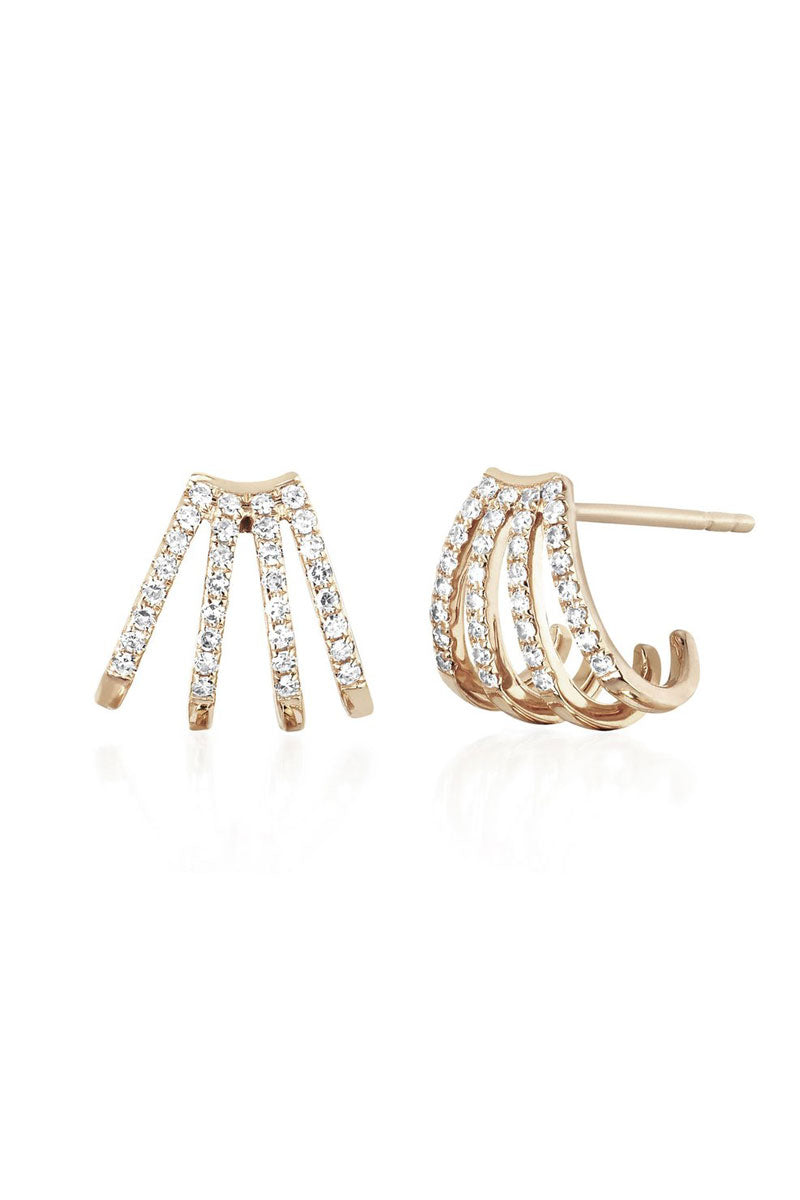 Diamond Multi Huggie Earrings - Yellow Gold - Pavilion