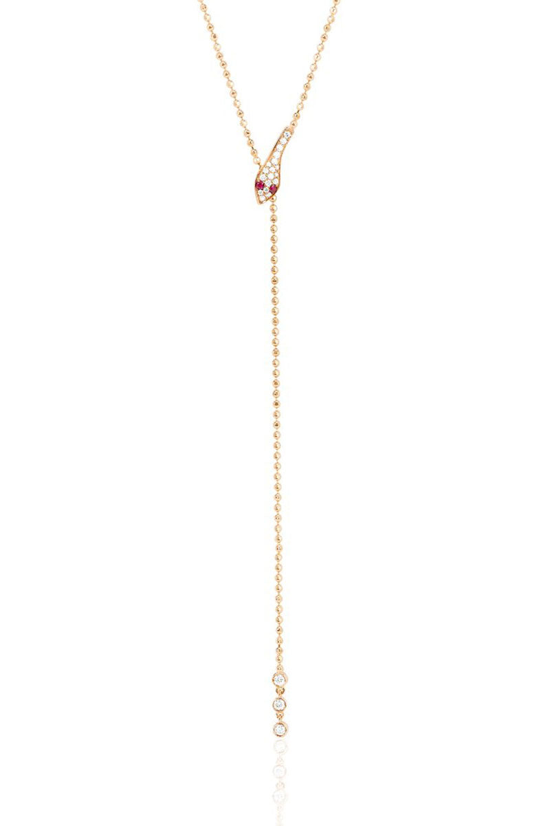 Diamond Snake W/ Ruby Eyes Lariat Necklace - Rose Gold - Pavilion