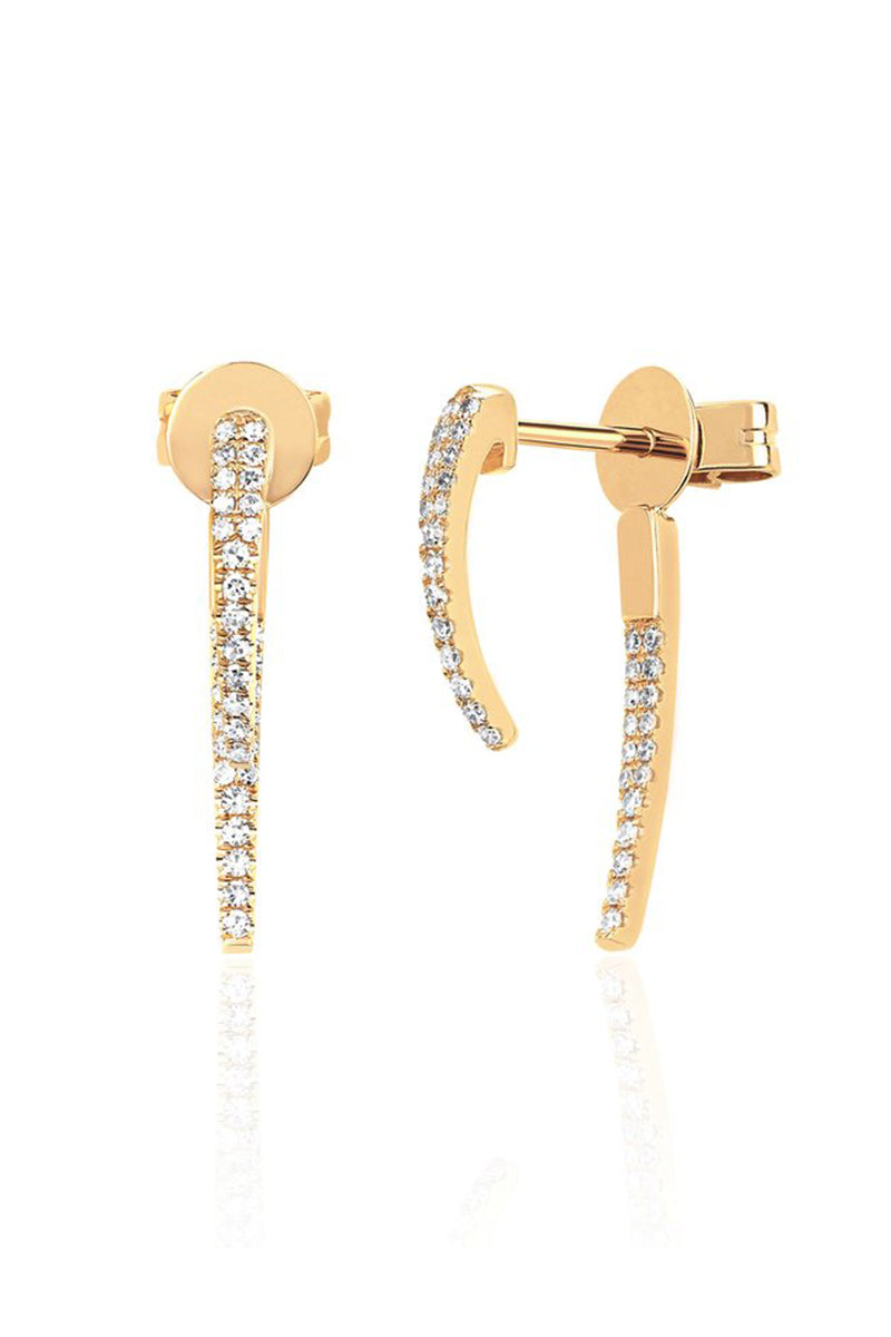 Diamond Hook Earrings - YG