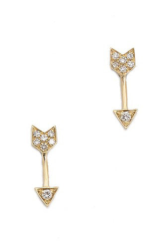 Arrow Earrings - Yellow Gold - Pavilion