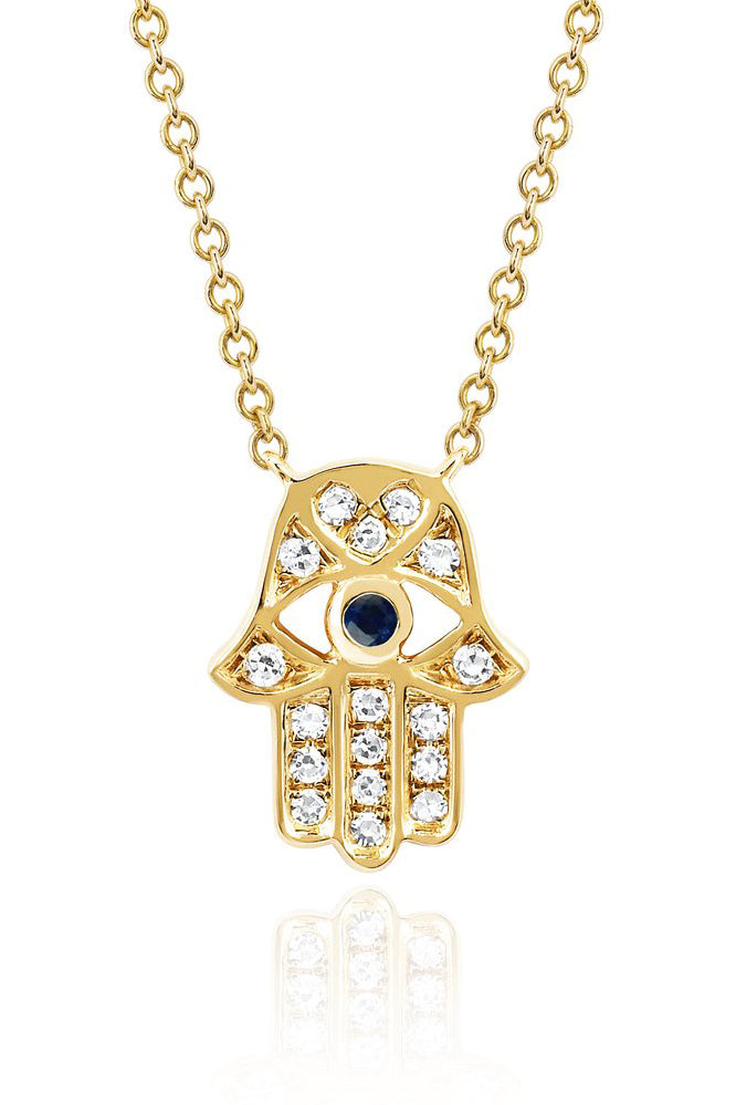 Diamond Hamsa with Blue Sapphire Eye Necklace - YG - Pavilion