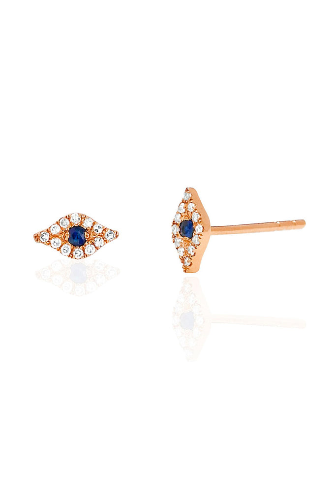Diamond Evil Eye Studs - Rose Gold - Pavilion