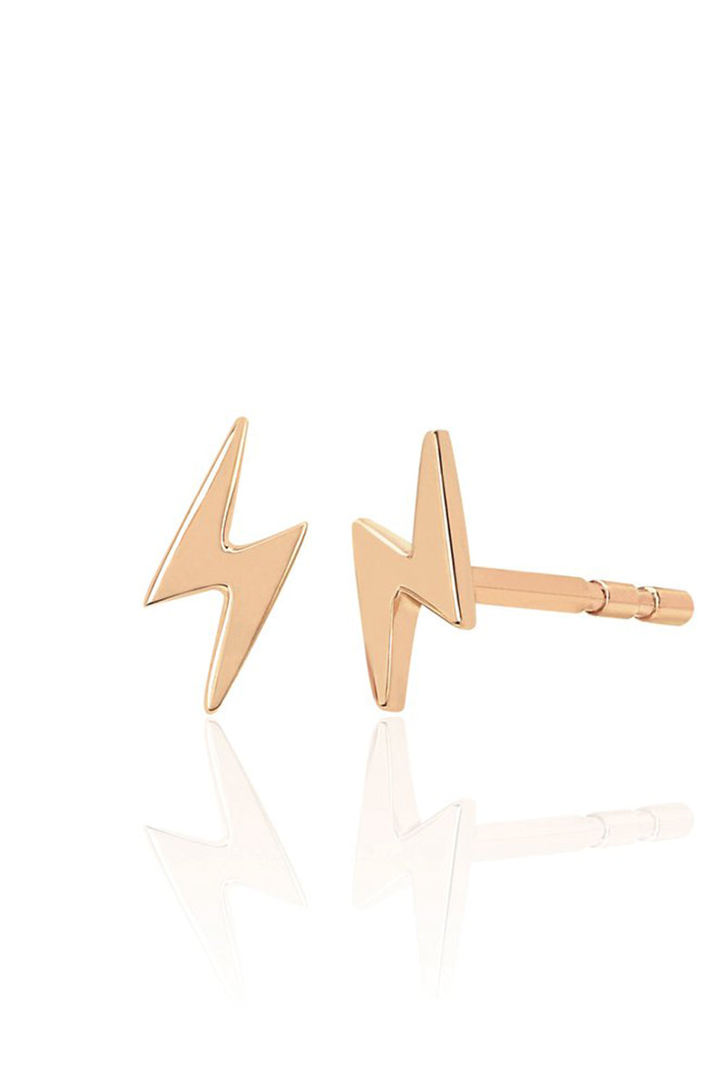 Mini Lightning Bolt Stud Earring - YG