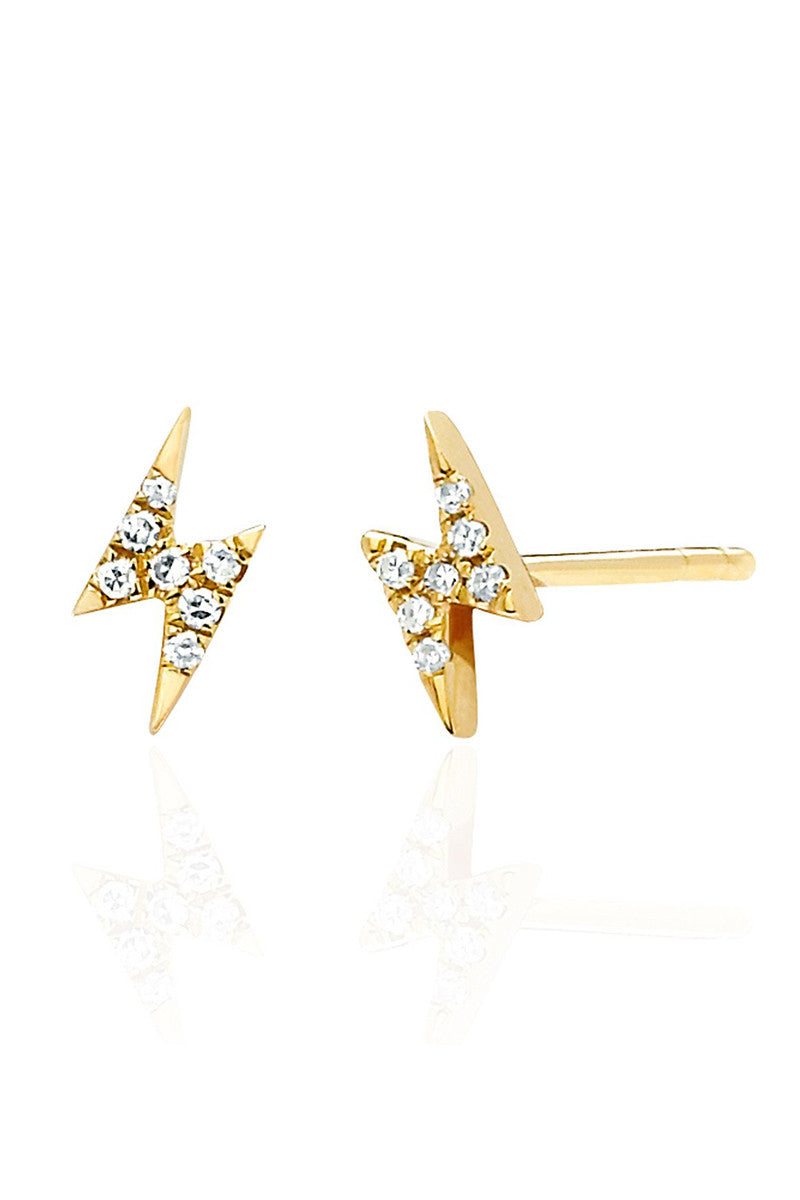 Diamond Lightning Bolt Studs - Yellow Gold - Pavilion