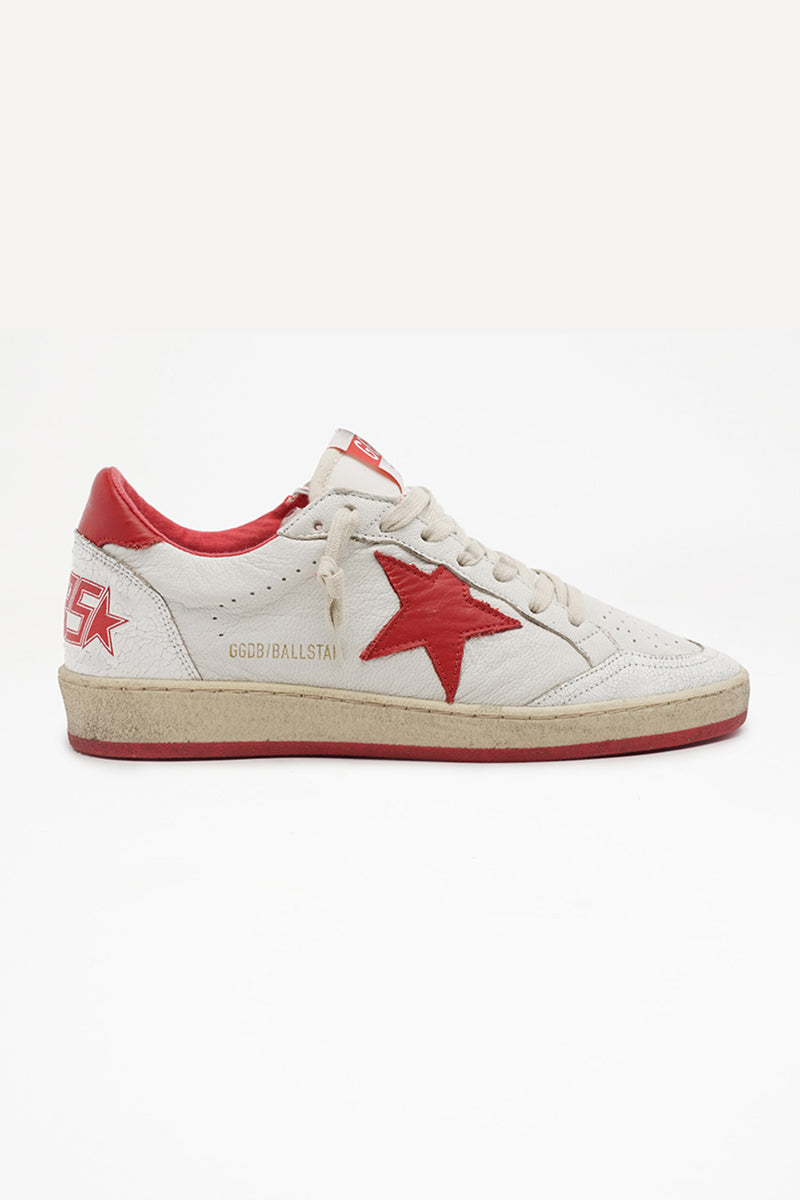 Ball Star - White Leather Crack Toe Strawberry Red Star