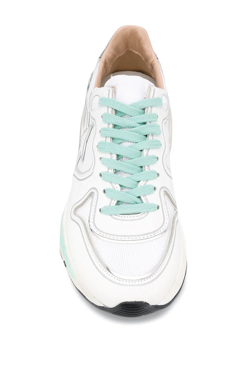 Running Sole - White Leather Silver Mirror