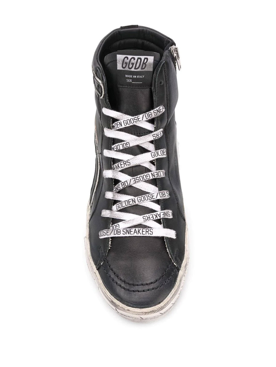 Slide Sneaker - Black Leather Metal Silver Star GGDB Laces - Pavilion