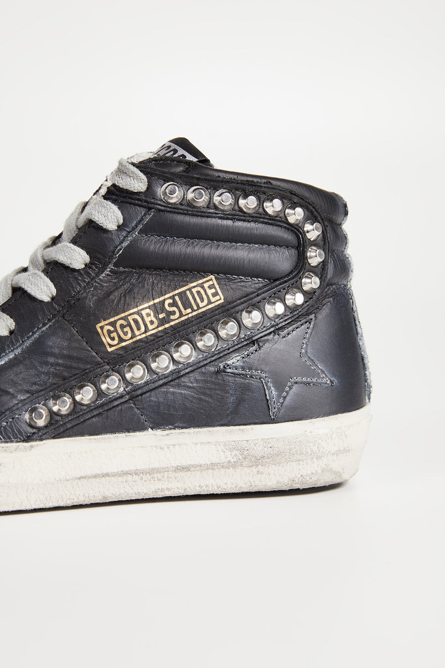 Slide - Black Leather Studs