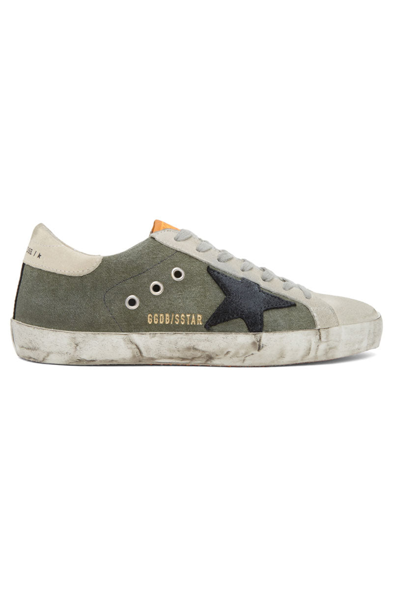 Superstar - Green Canvas Black Suede Star - Pavilion