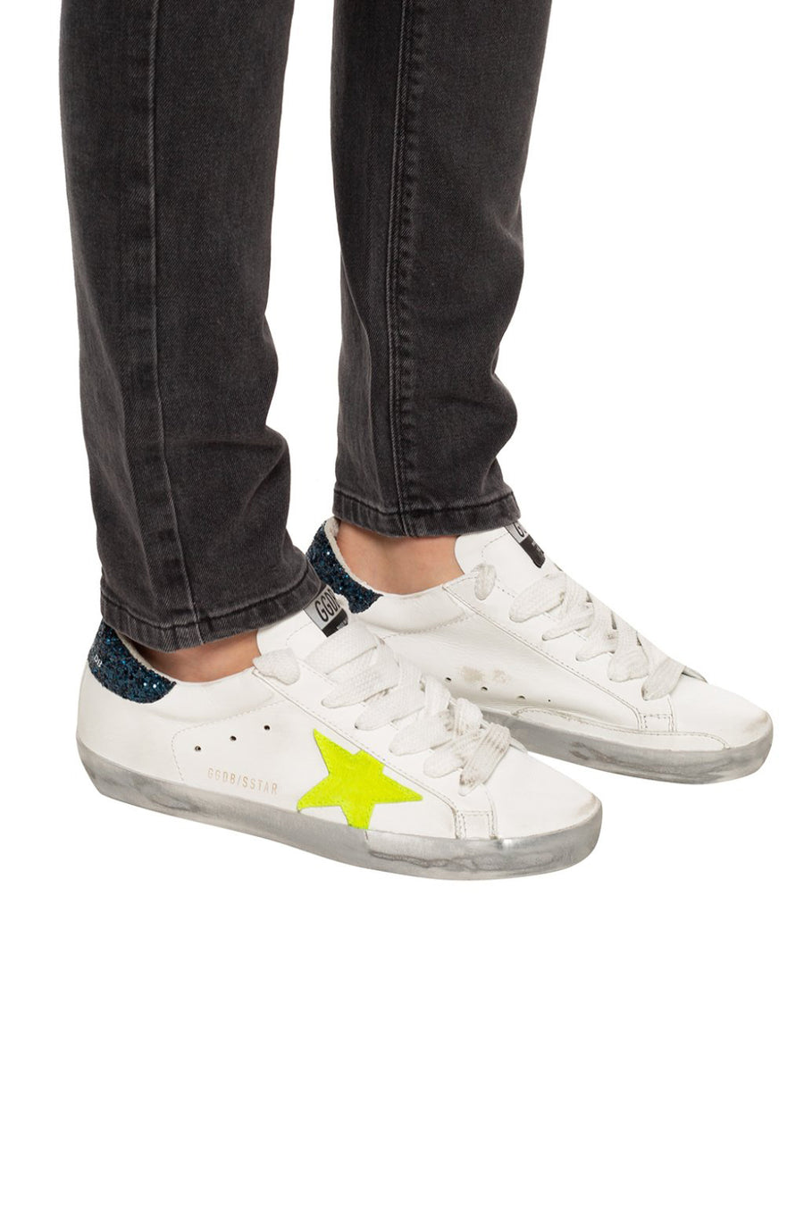 Superstar - White Leather Sparkle Yellow Star - Pavilion