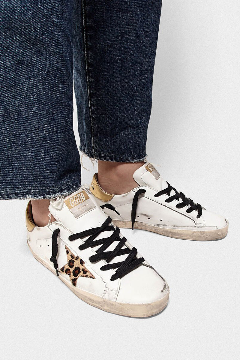 Superstar - White Leather Gold Leopard Star