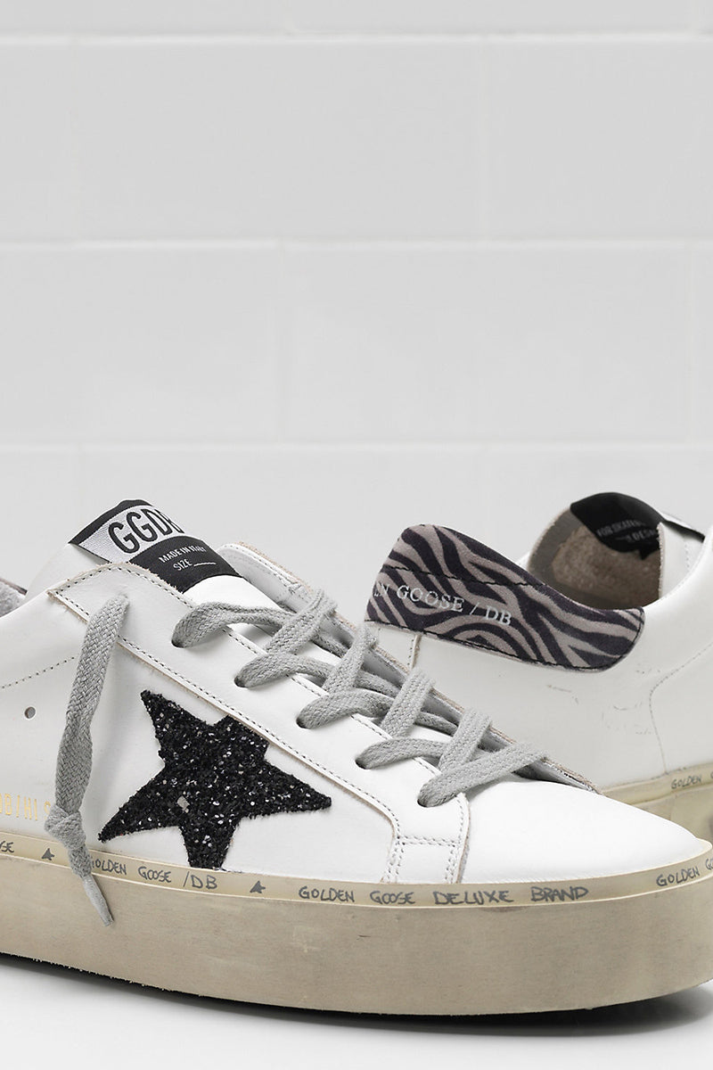 Hi Star - White Leather Black Glitter Star - Pavilion
