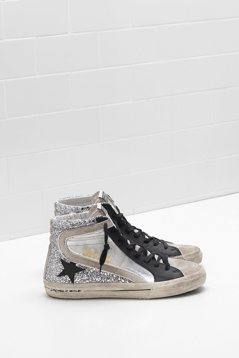 Slide - Silver Glitter Leather Black Star