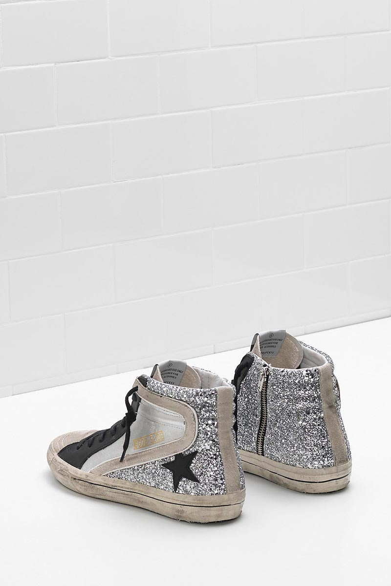Slide - Silver Glitter Leather Black Star - Pavilion