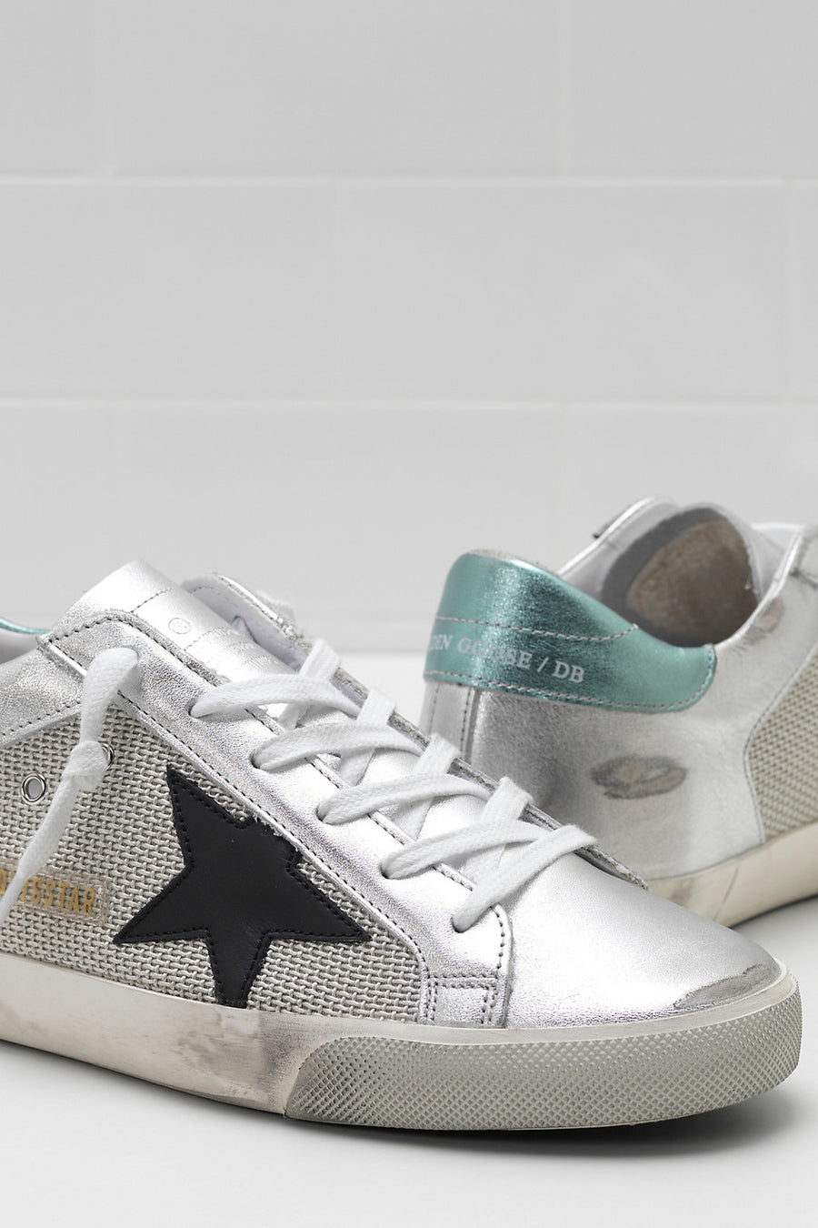 Superstar - White Silver Half-Green Laminated Leather