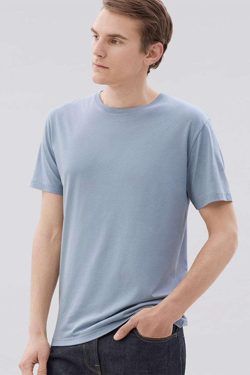 Crew Neck Tee - Dusty Blue