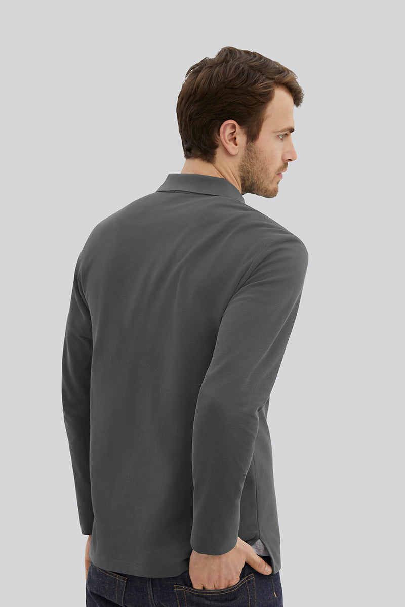 Pique Polo L/S - Steel Grey