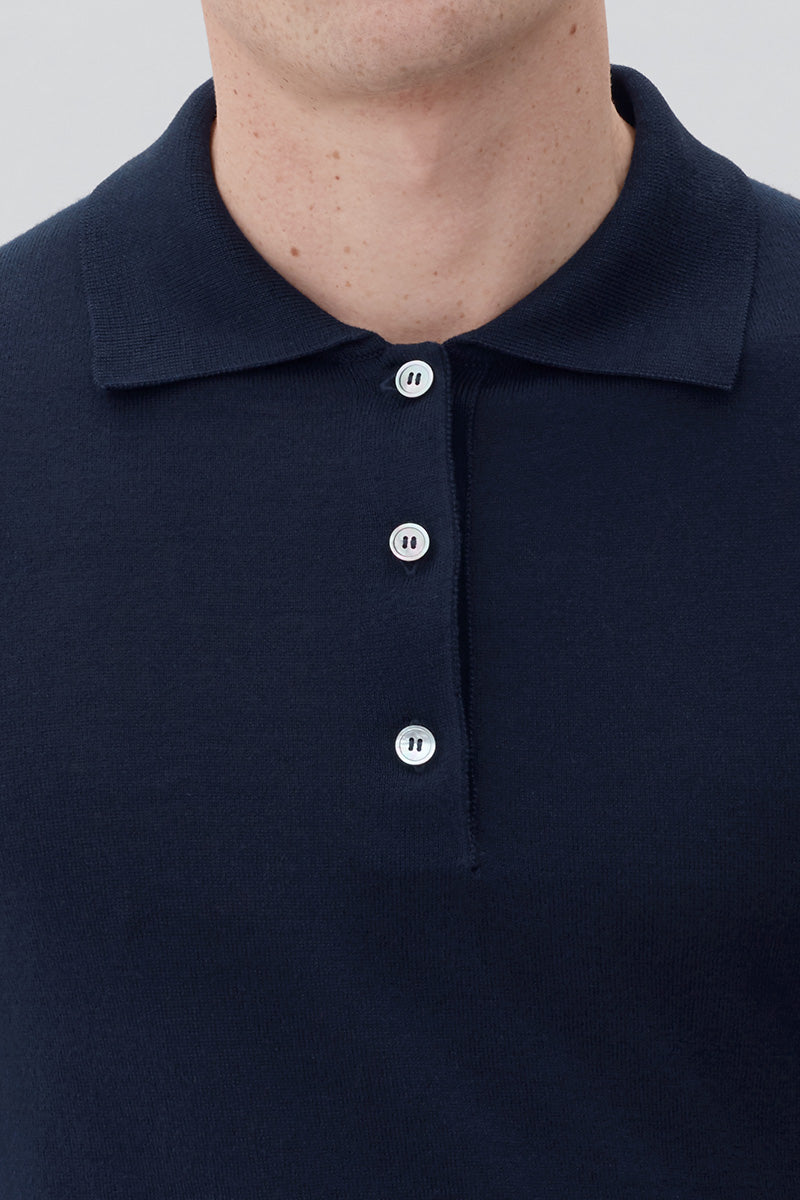 Knit Polo L/S - Dark Navy