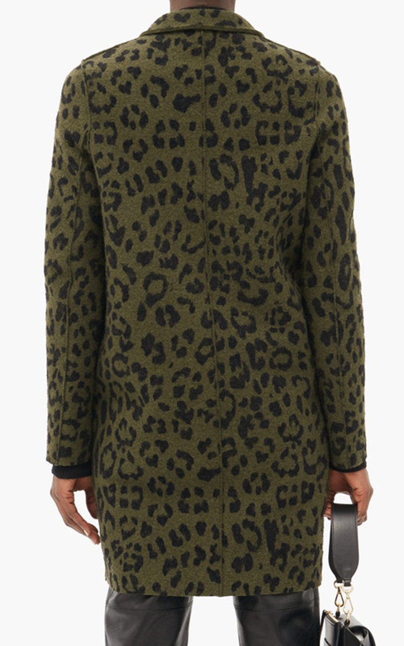 Cocoon Boiled Wool Coat Leopard Print - Moss Green