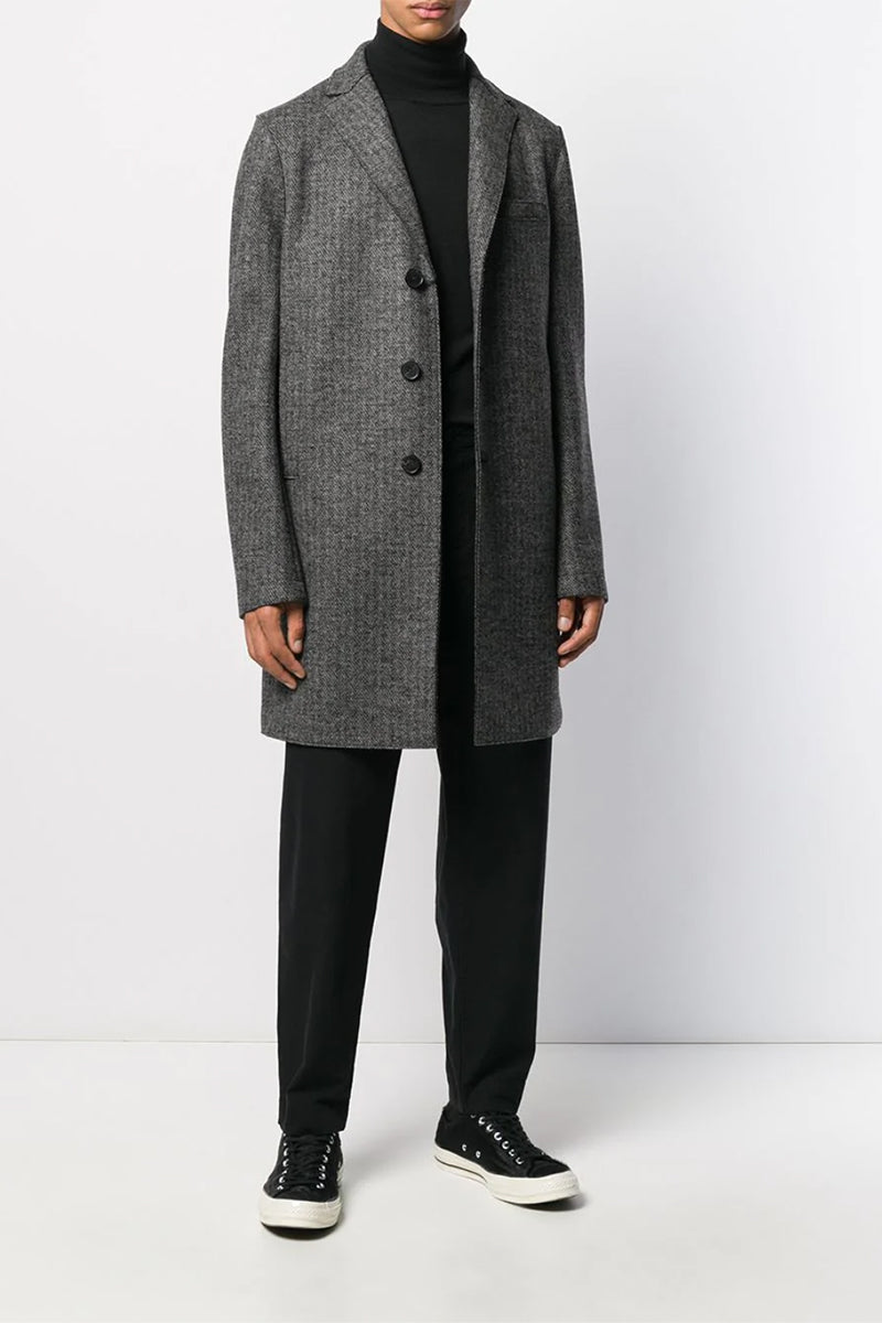 Double Faced Wool Boxy Coat - Grey