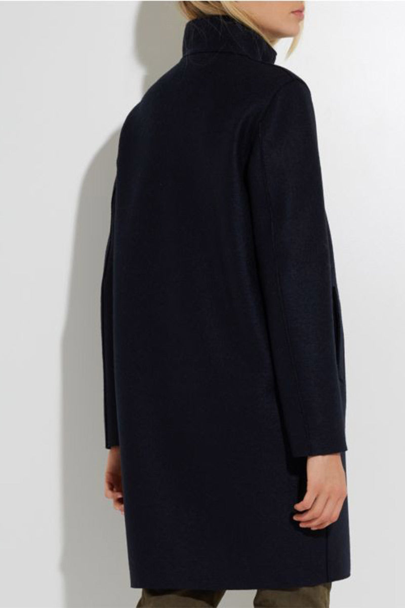 Egg-Shaped Coat Pressed Wool and Polaire - Black - Pavilion