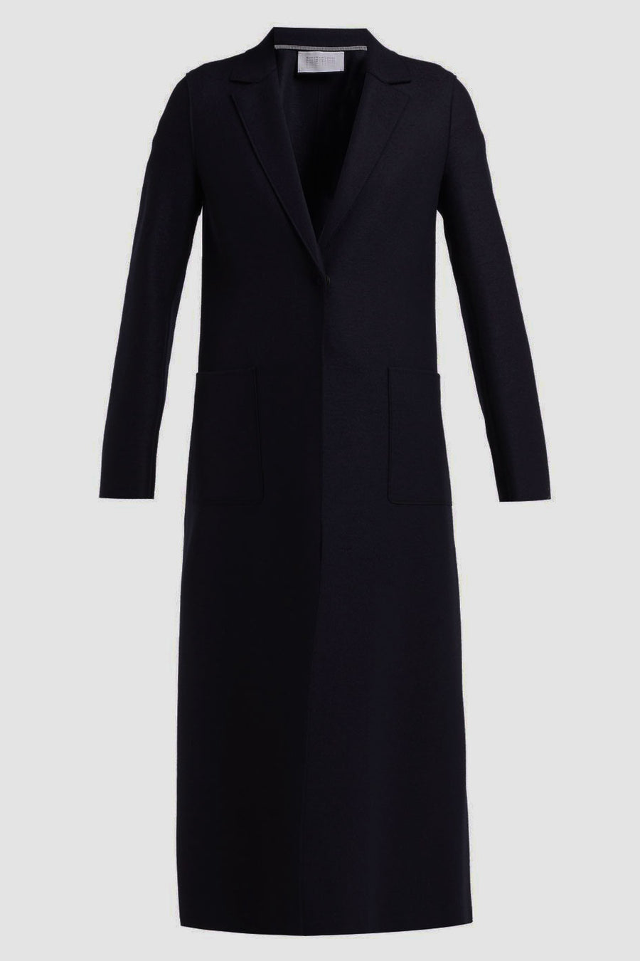 Long Vented Coat Light Pressed Wool - Black