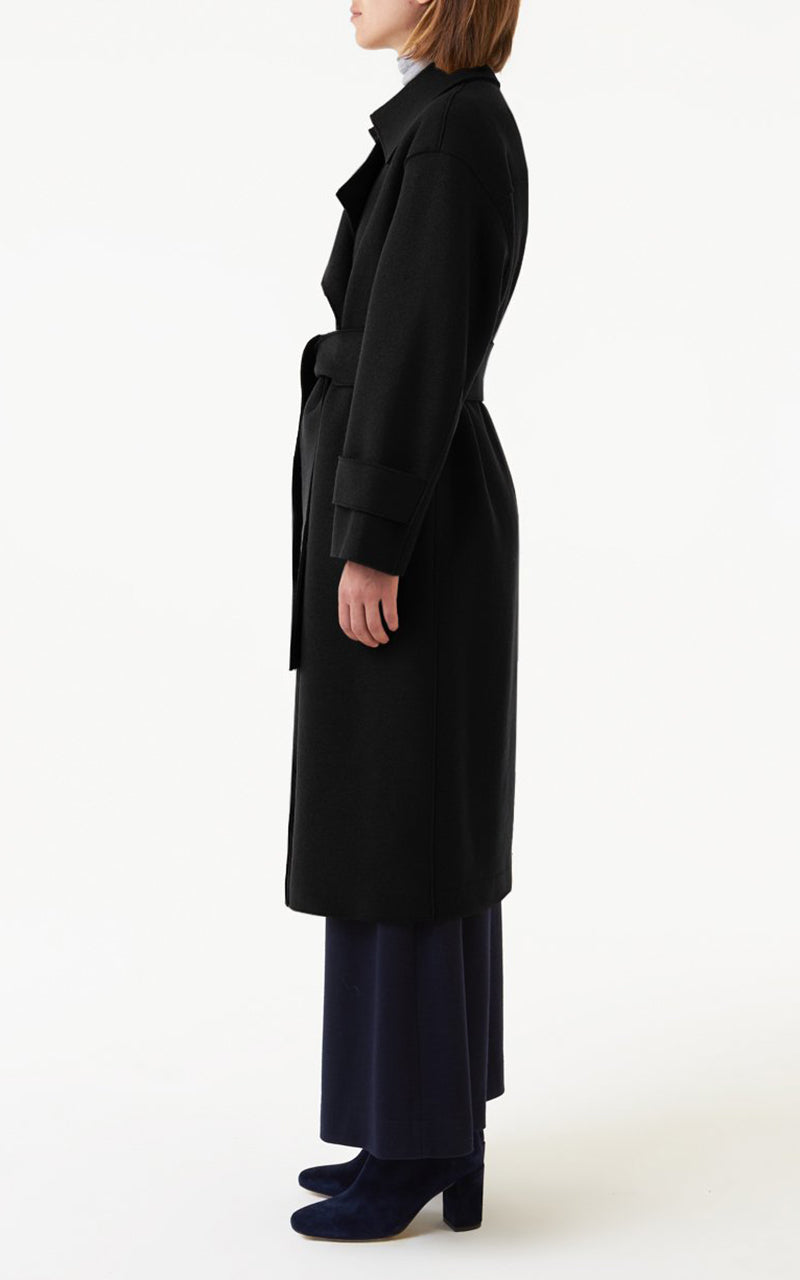 Oversized Trench Coat Technic Polaire - Black