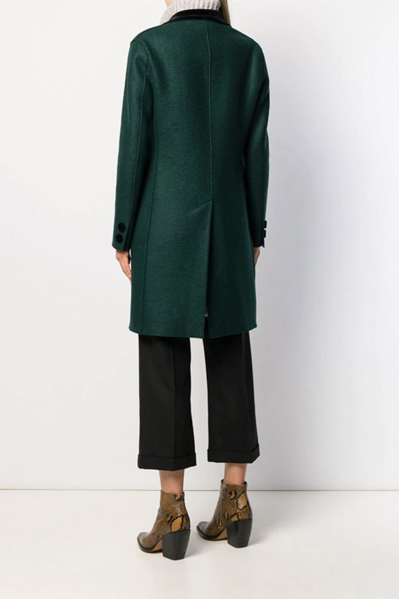 Single Breasted Pressed Wool Coat - Bottle Green - Pavilion