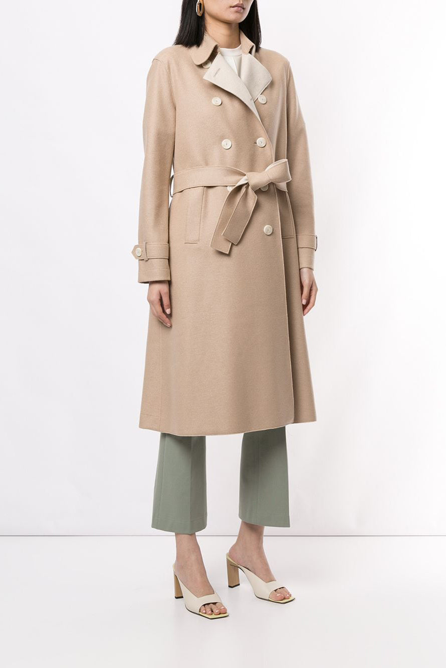 Bicolor Trench Coat Light Pressed Wool - Sand - Pavilion