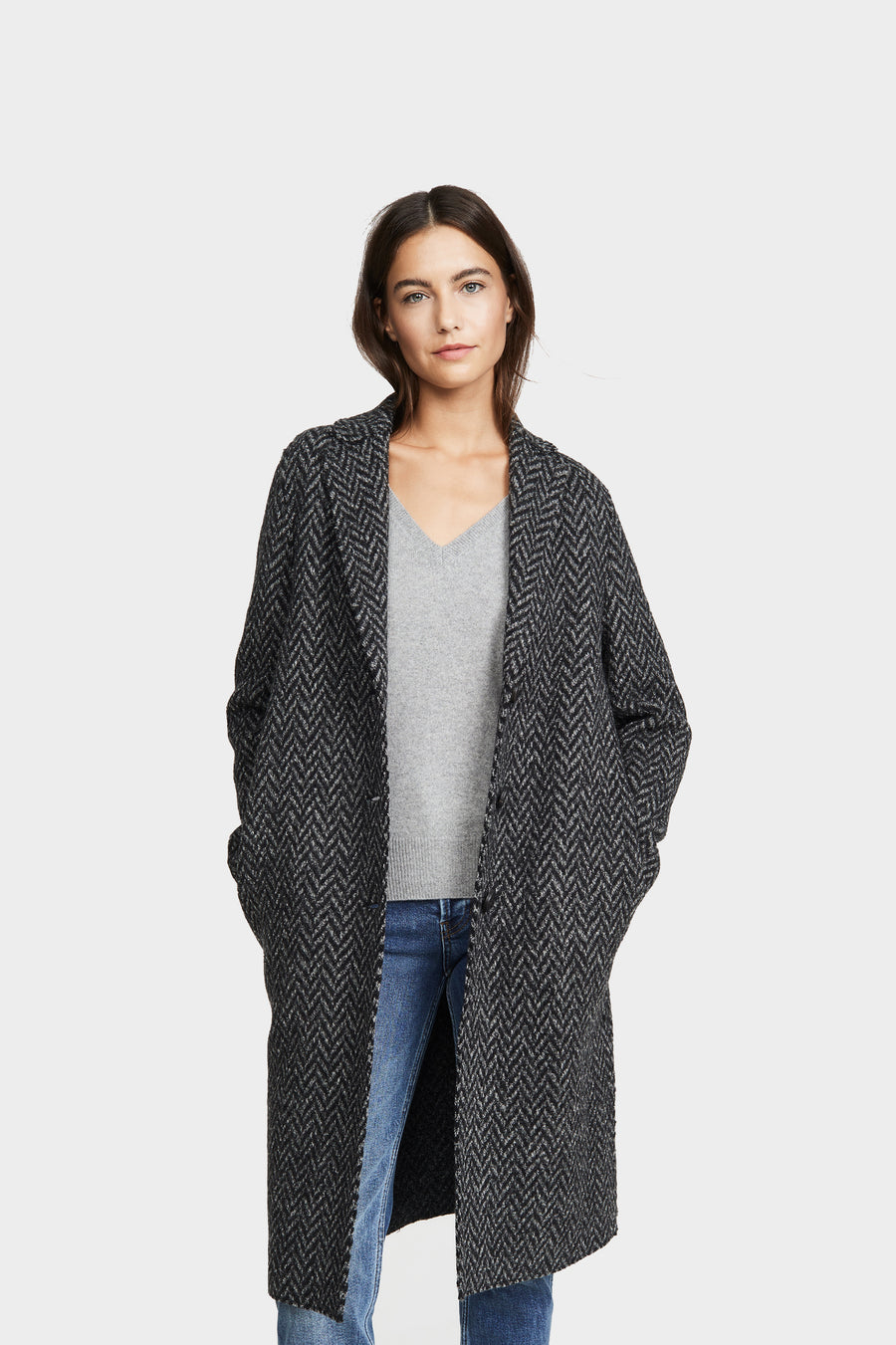 Knitted Herringbone Overcoat - Anthracite