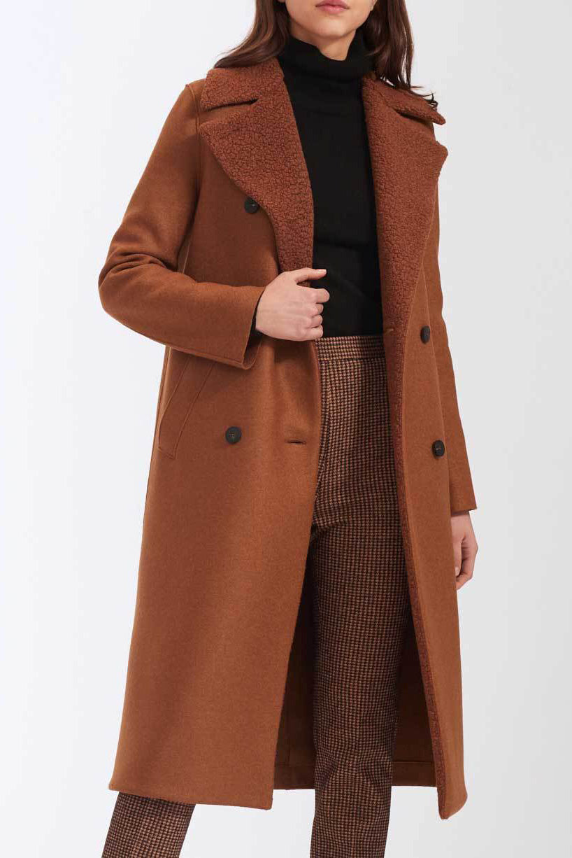 Military Coat Pressed Wool with Boucle - Caramel