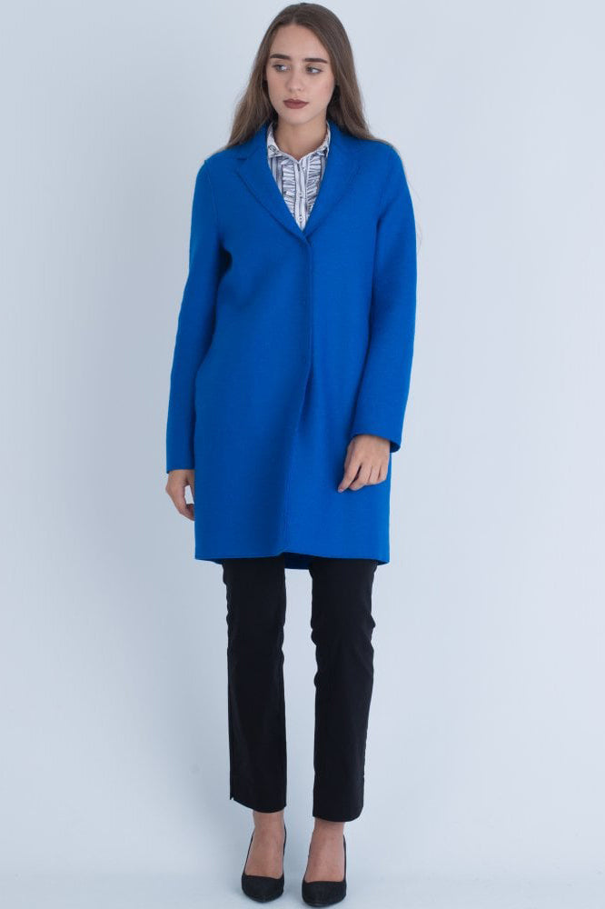 Cocoon Coat Pressed Wool - Turquoise - Pavilion