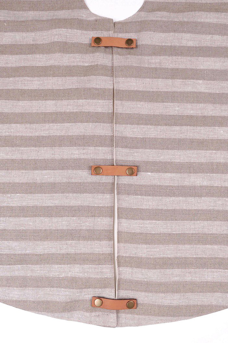 Linen Tree Skirt - Natural Stripe