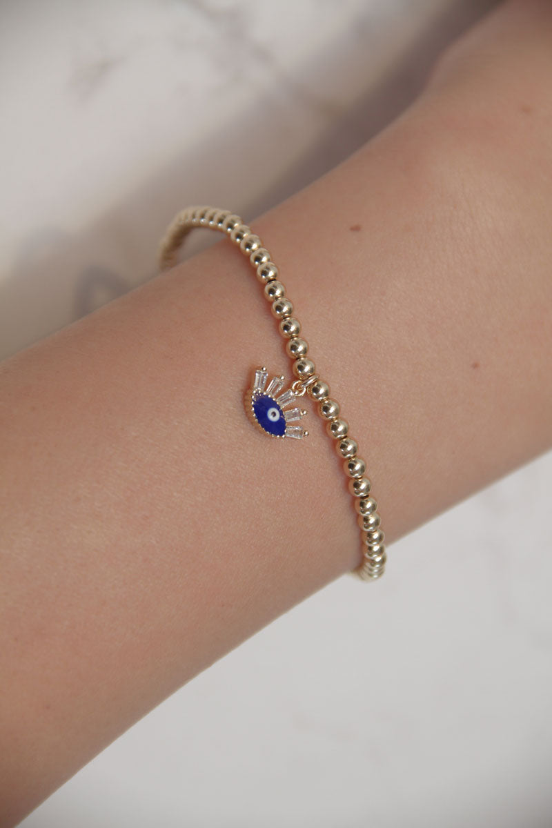 Evil Eye Beaded Stretch Bracelet - Lapis + Lashes - Pavilion