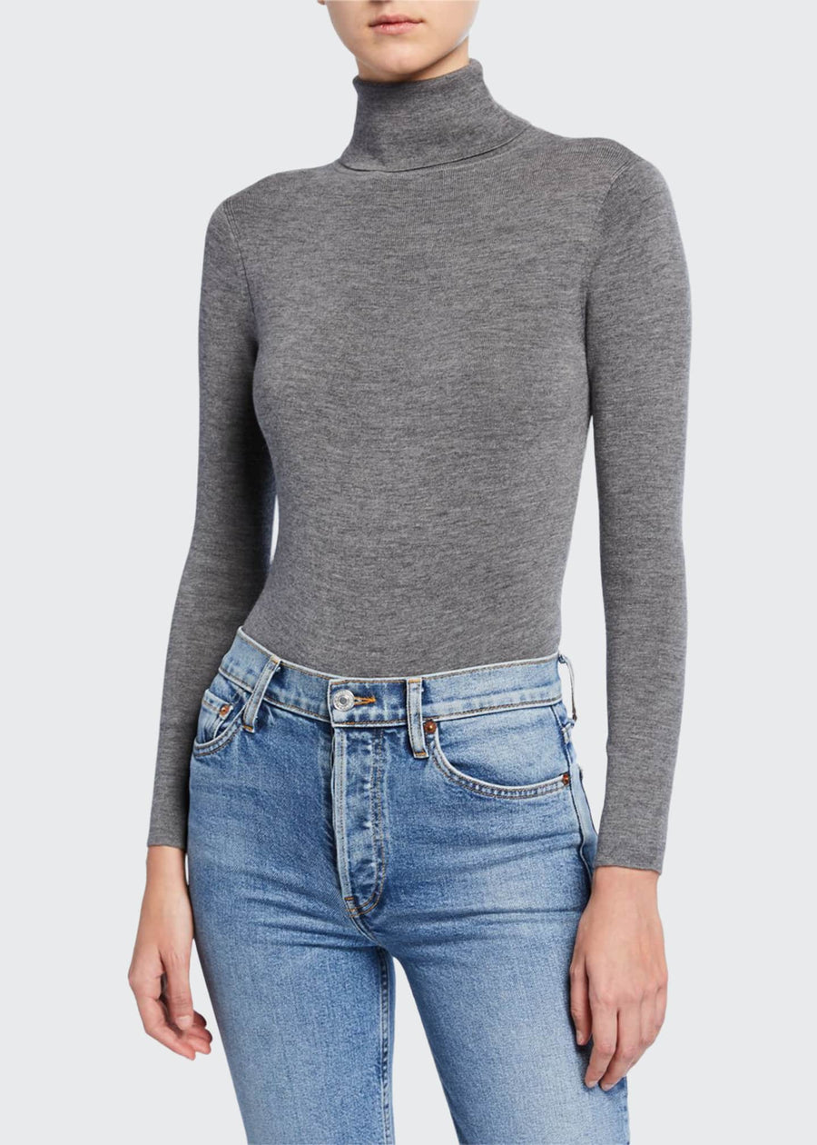 Galora Turtleneck Bodysuit - Grey Melange