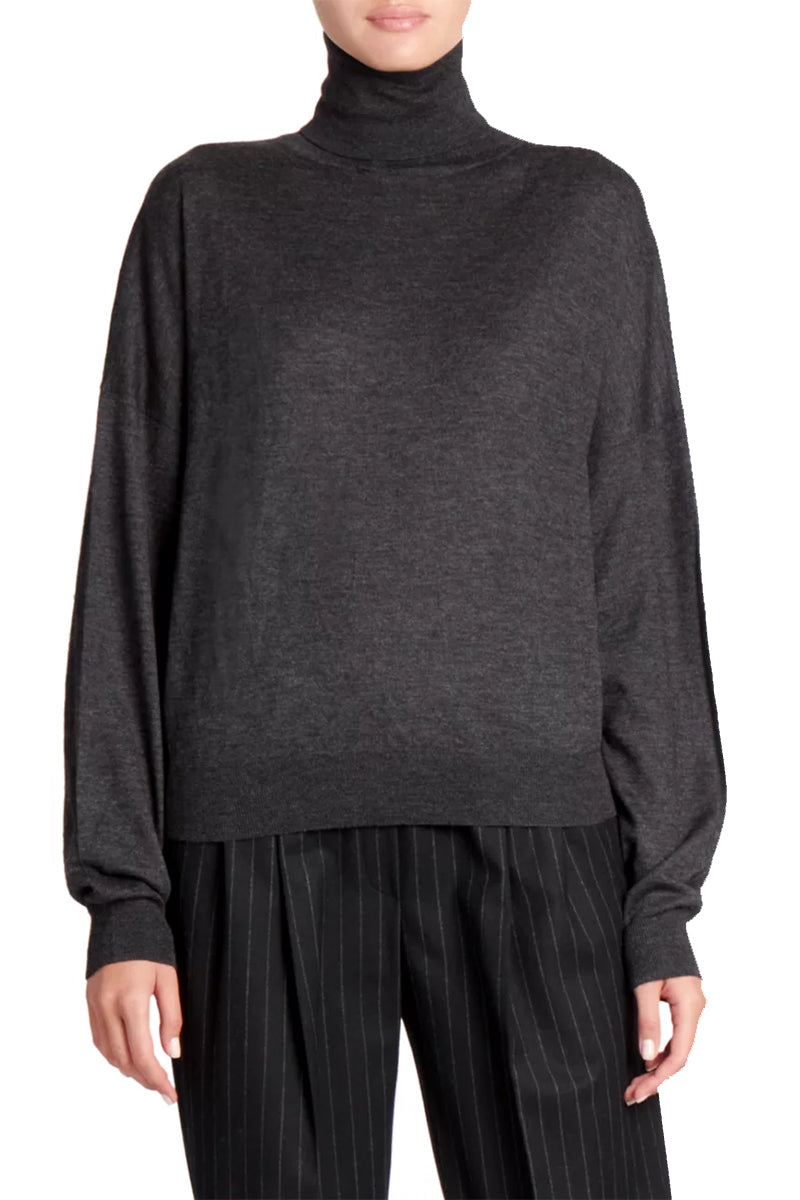 Tizzano Lightweight Turtleneck - Black Melange