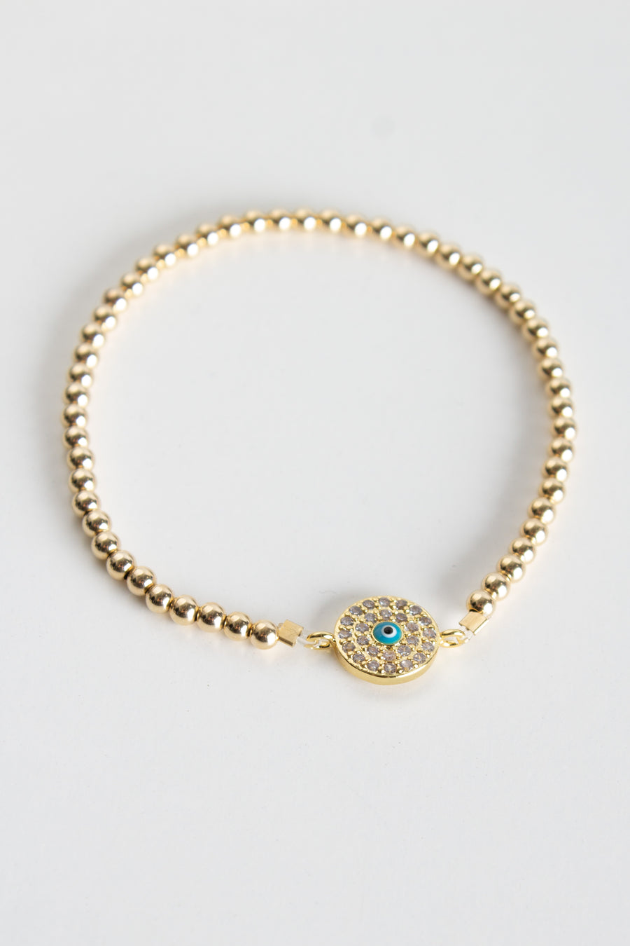 Beaded Stretch Bracelet - Evil Eye Disc - Pavilion