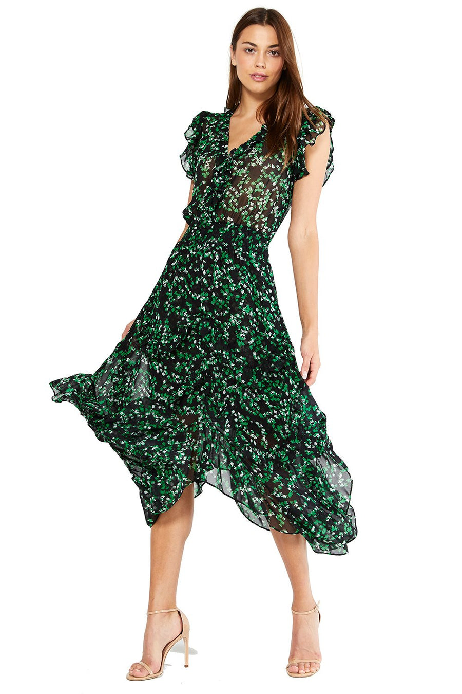 Dakota Dress - Green Mini Blooms - Pavilion