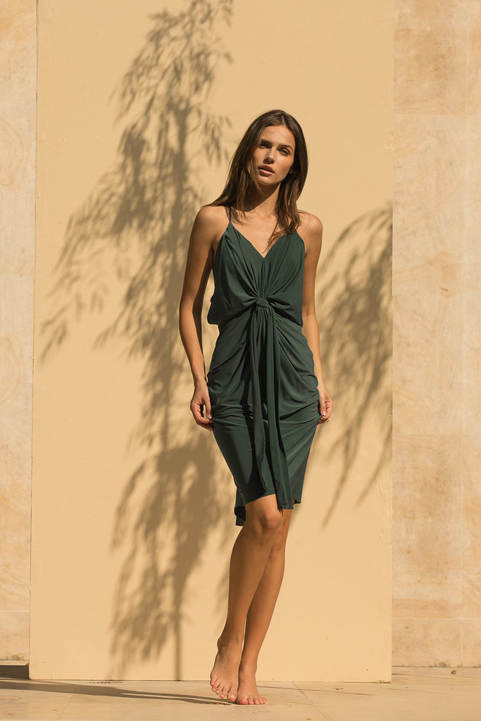 Domino Midi Dress - Hunter Green Venezia - Pavilion