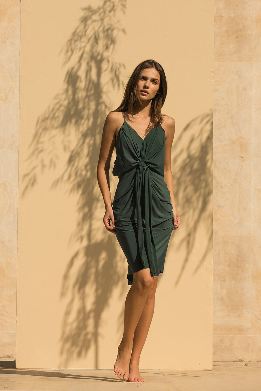 Domino Midi Dress - Hunter Green - Pavilion