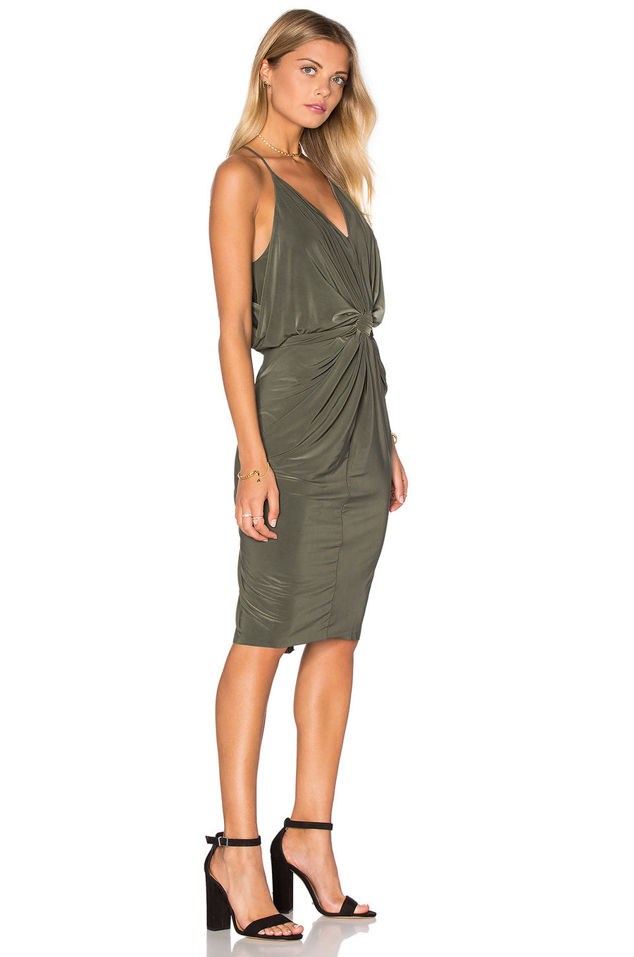 Domino Midi Dress - Olive - Pavilion