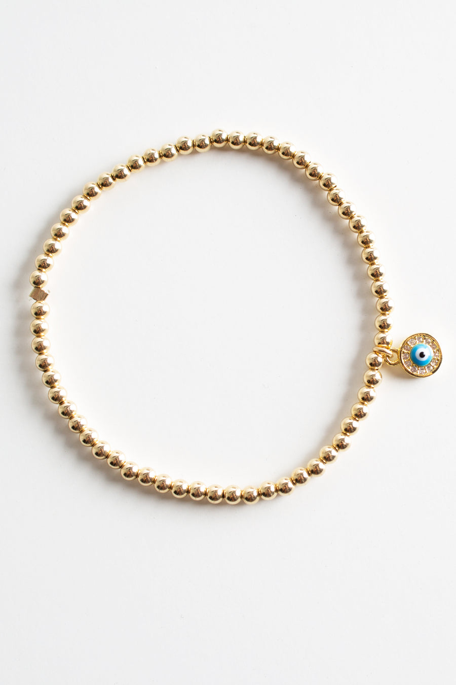 Evil Eye Beaded Stretch Bracelet - Round Mini Eye Charm - Pavilion