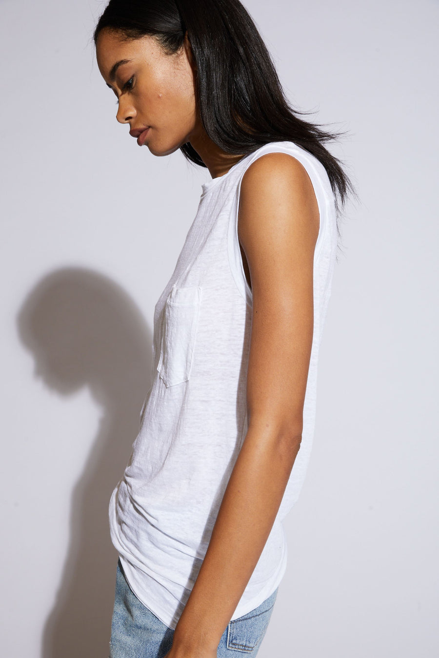 Claire Muscle Tee - White
