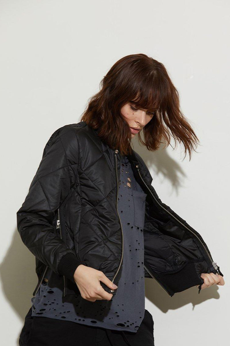 Neil Quilted Bomber Jacket - Black