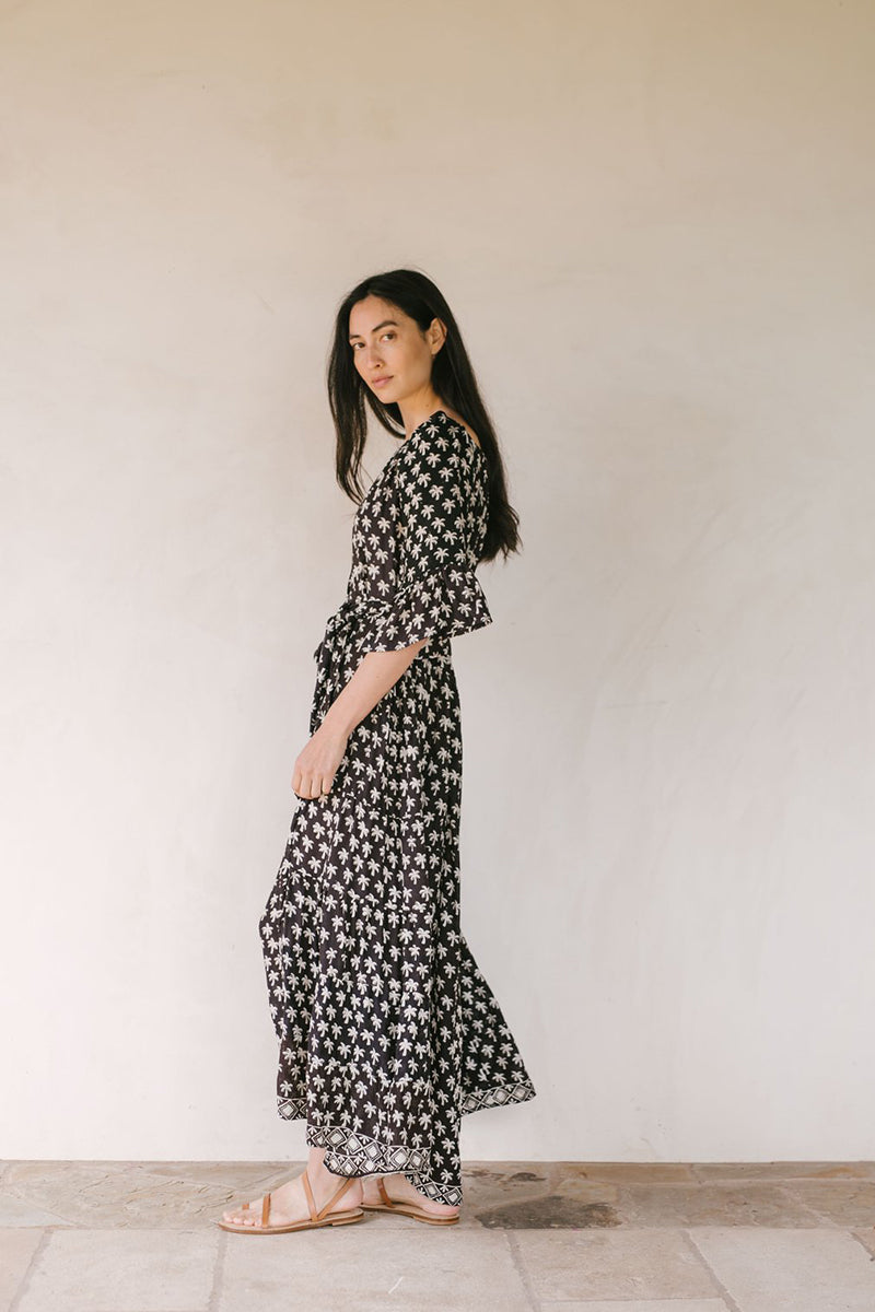 Mesa Maxi Dress - Palm Tree Black