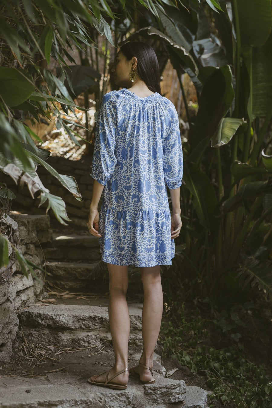 Stevie Dress - Wing Print Corfu Blue