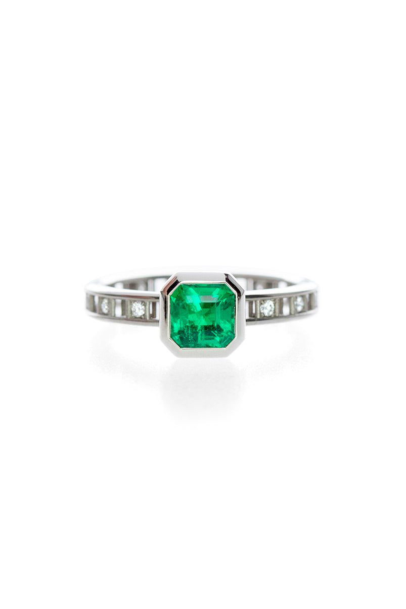Pixel Dust Open Set Solitaire Ring - Emerald Cut Emerald in White Gold