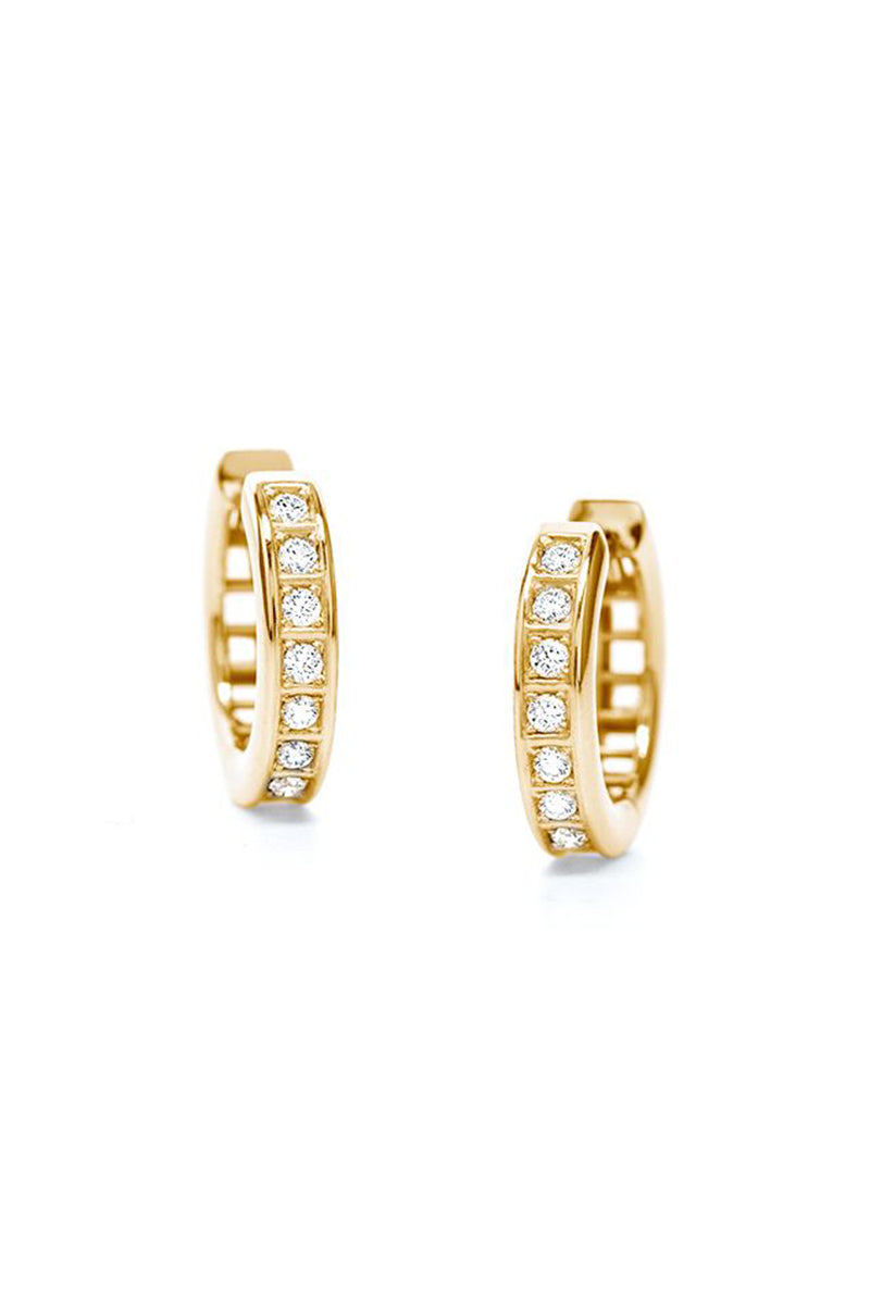 Half-Full Set Pixel Dust Petite Hoops - White Diamonds in Yellow Gold