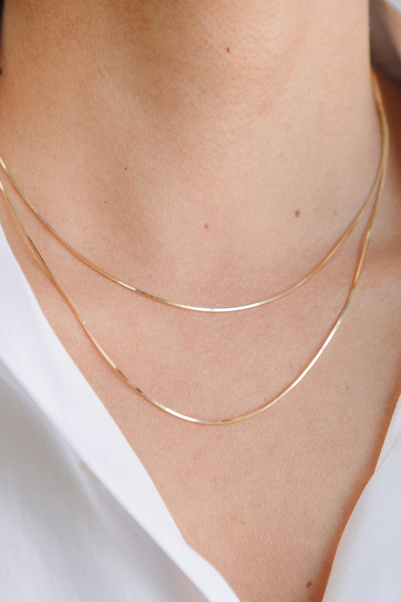 1.5 mm Flexible Herringbone Chain - 14k Yellow Gold